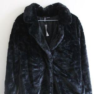 Black Faux Fur Coat